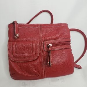 Tignanello Red Pebbled Leather Crossbody Bag